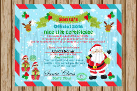 blank certificate instant 2016 santa certificate nice list certificate north pole certificate santa good list print your own digital image