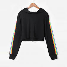 Womens Long Sleeve <b>Rainbow Striped Crop</b> Hoodie Sweatshirt ...