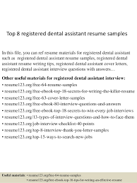 top 8 registered dental assistant resume samples in this file you can ref resume materials registered sales assistant