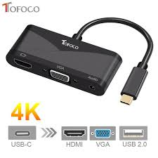 2019 <b>TOFOCO</b> 3 In <b>1</b> USB C Type C To HDMI VGA 3.5mm Audio ...