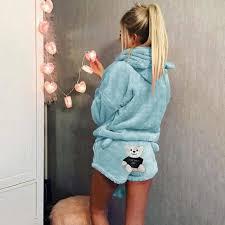 Cute Bear Print <b>Women</b> Hooded with Shorts <b>Women</b> Fluffy <b>Pajama Set</b>