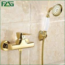 golden bathroom shower column faucet wall: flg concise wall mounted bathroom faucet bath tub mixer tap with ceramic handle hand shower head