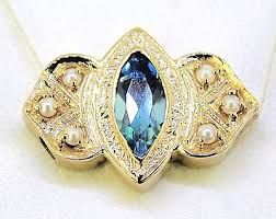 TOPAZ SOLITAIRE WITH PEARL ACCENTS BRACELET SLIDE ...