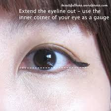 now es the fun part rather than drawing the eyeliner first draw the end extend it out as much as you like but use the inner corner of your eye as a