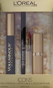 l 39 oreal paris icons makeup kit with voluminous mascara infallible liner and colour riche lip