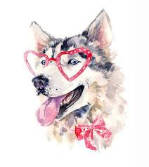 <b>Watercolor Dog</b> In Red Heart Shaped <b>Glasses</b>. Stock Photo, Picture ...