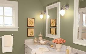 country bathroom colors: olive green wall color with metal wall sconces for small bathroom ideas using english country interior