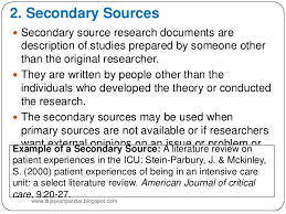 Sources for literature review Identify key primary sources  e g