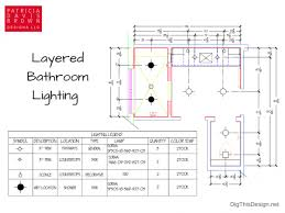 graphic of master bathroom lighting floor plan with legend showing layered general task decorative ample shower lighting