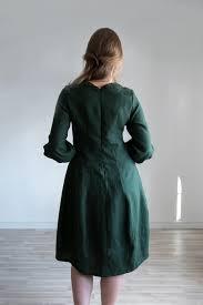 <b>Elegant dark green</b> linen dress   Linen Boutique