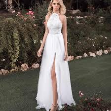 White Bridal Dress Vestido De Noiva Simple Beach Wedding ...