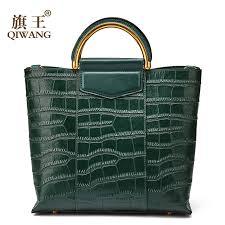 HOT OFFER <b>Qiwang</b> New Arrival Green Tote Bag Real <b>Leather</b> ...