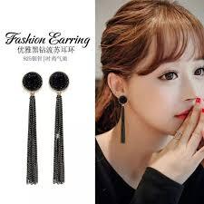 【MIKA】    Ready Stock <b>S925 Silver Needle</b> Fashion Black <b>Tassel</b> ...
