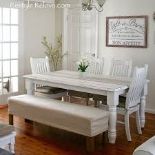 dining room bench seating: restyle relove padded dining room bench seat with removable washable drop cloth cover
