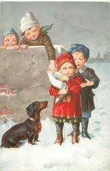 two <b>boys</b> pester <b>girl</b> for handout, one from behind, one from above ...
