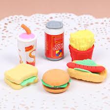 <b>6 PCS/Set Cute Kawaii</b> Hamburger Food Drink Cola Rubber Eraser ...