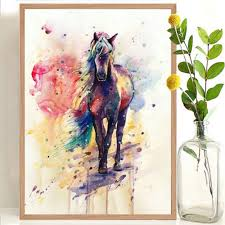 <b>Colorful Unicorn Wall</b> Stickers <b>Cartoon</b> Watercolor Painting Horse ...