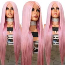 EEWIGS Ombre Pink Wig Wavy Hair Synthetic <b>Lace Front</b> Wig <b>High</b> ...