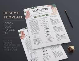 floral resume creative cv template pastel floral background cover letter resume template elegant cv design modern resume design 1 page cv