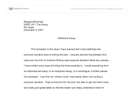 personal reflective essay example Millicent Rogers Museum Personal Recount   Reflective Essay Writing   For Lower Secondary     Personal Recount Reflective