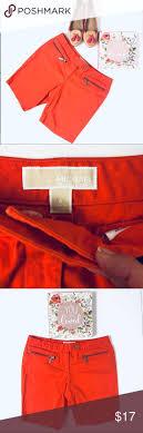 <b>Michael Kors Coral</b> Bermuda 6 MK Orange Zip front shorts 2 front ...