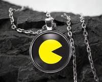 <b>Pacman</b> Glass Pendant video <b>game necklace</b> atari <b>jewelry pac man</b> ...