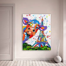 <b>HDARTISAN Vrolijk Schilderij Wall</b> Art Canvas Painting Animal Cow ...