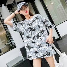 <b>Coconut Trees</b> Printed Tees Women Korean Trendy Summer tshirt ...