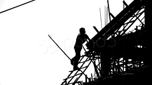 video construction worker silhouette industry site building a still