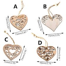 2019 3PCS Merry Christmas <b>Wooden</b> Love Heart Ornaments ...