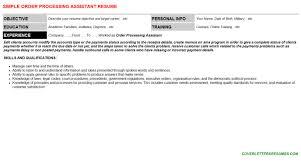 Order Processing Assistant Resume Sample