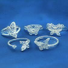 <b>5pcs</b>/bag Fashion Silver Open Ring 925 Sterling Silver Butterfly ...