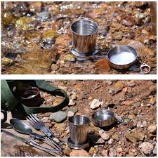 <b>Stainless Steel</b> Camping Folding Cup With Keychain Traveling ...