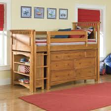 breathtaking natural brown oak wood loft beds with open storage shelves on the left side and stairs as well as drawers by using round oak wood knobs handles cheap space saving furniture
