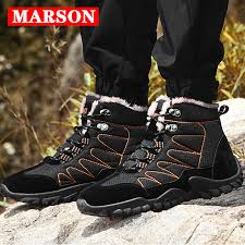 <b>MARSON Men's Winter</b> Snow Boots Antiskid Hiking Shoes With Fur ...