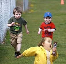 little girl running away from two boys with a snickers bar ... via Relatably.com