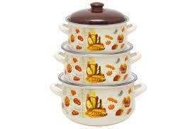 Набор посуды Маруся 5000 6 предметов (2.0л,<b>3.0</b>л,4.0л) эмаль с ...