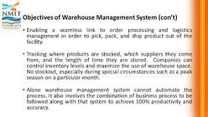 mri warehousing and distribution warehouse management  41 objectives