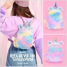 New Hot Sale Laser <b>Plush Colorful</b> Unicorn <b>Backpack Women</b> Cute ...