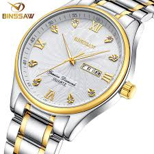 futuristic watches for men promotion shop for promotional binssaw classic business men quartz stainless steel fashion leisure original luxury brand week calendar watch gift relogio mascu