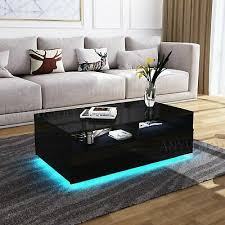 Home, Furniture & DIY LED Light <b>High Gloss Coffee</b> Tea Table Solid ...