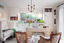 transitional home office with white storage cabinets black and white home office