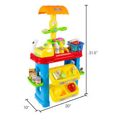 Hey! Play! <b>Pretend Play Grocery</b> Store Stand with Cash Register and ...