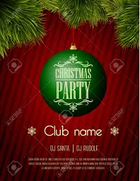 christmas party flyer template green bauble on a red background christmas party flyer template green bauble on a red background stock vector 34810833