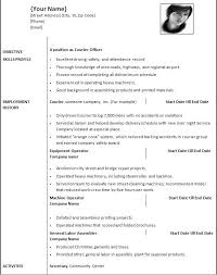 sample ms word resume templates free   resume sample informationresume template ms word example for courier officer   employment history