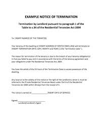 example notice of termination rental termination letter to tenant