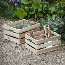 <b>Wooden Set of 2</b> Storage Boxes | Garden Trading