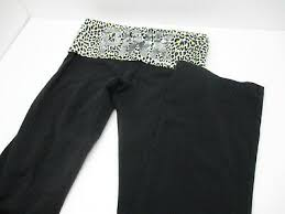PINK Victoria's Secret Black Roll Animal <b>Print SEQUINS</b> Panel <b>Yoga</b> ...