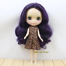 [NBL132]Free shipping Nude Blyth Doll with <b>Deep Purple Long</b> hair ...