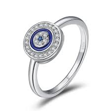 <b>Authentic 100</b>% <b>925 Sterling</b> Silver Lucky Blue Eyes Women Finger ...